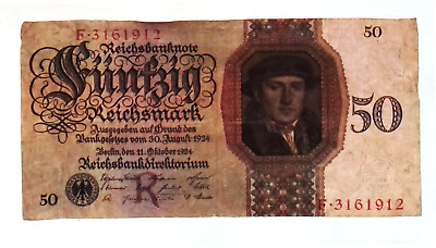 1924 Germany 50 Reichsmark Banknote