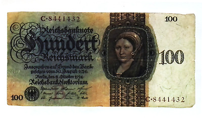 1924 Germany 100 Reichsmark Banknote