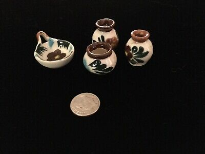 Vintage 1950-1960 Doll House Miniature Painted Dishes