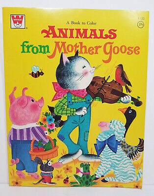 ANIMALS FROM MOTHER GOOSE Coloring Book UNCOLORED Vtg '71 NURSERY RHYME Bo Peep