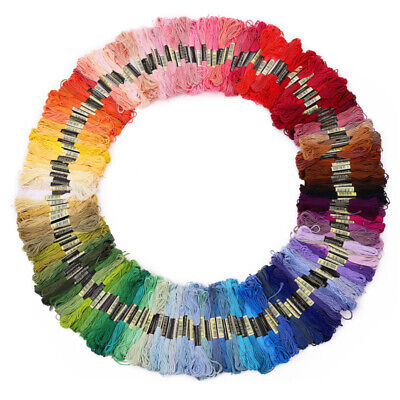 New 50-300 Coloured Embroidery Thread Cotton Cross Stitch Braiding Craft Sewing