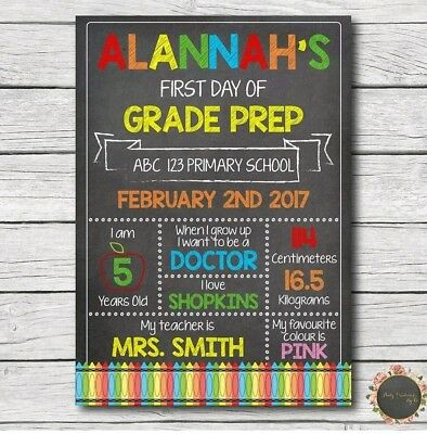 My First Day Of School Kinder Prep Foundation Grade Personalised Board Print