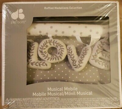 Just Born Love Musical Crib Mobile Ruffled Medallions Collection, White & Gray