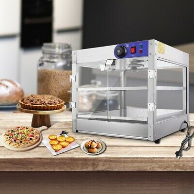 2 Tier Hot Food Warmer Display Pie Pizza Cabinet Heated Case Showcase Commercial