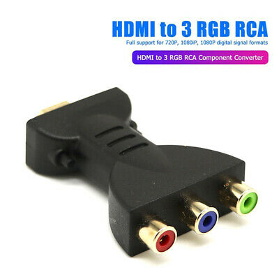 HDMI Male To 3 RGB RCA AV Video Audio Adapters Component Converter for HDTV DVD