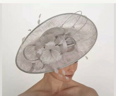 NIGEL RAYMENT PALE SILVER GREY WEDDING  DISC FASCINATOR Mother The Bride Hat