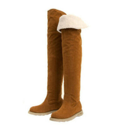 Women Girls High Long Boots Over The Knee Thigh Flat Heels Increased Snow Shoes