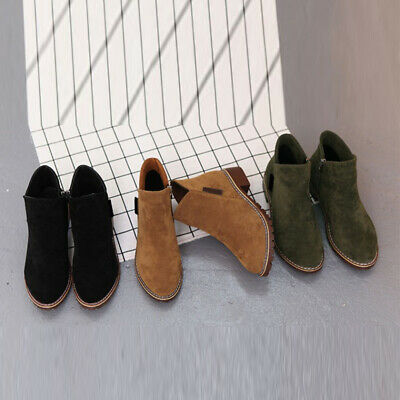 2017 Womens Flat Low Heel Chelsea Boots Ladies Classic Suede Zipper Ankle Shoes
