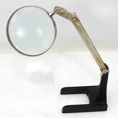 Adjustable Magnifying Glass Stand Cast Iron Base Industrial Table Round Flexible
