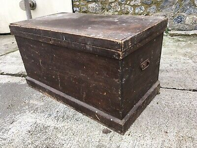 Antique victorian Pine Chest Box Wooden Trunk Farmhouse Large