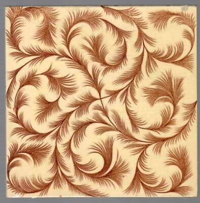 Wedgwood - c1895 - Brown Feather Design - Antique Aesthetic Tile