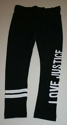 New Justice Leggings Girls 12 yr Stretch Soft Pants Black w LOVE JUSTICE