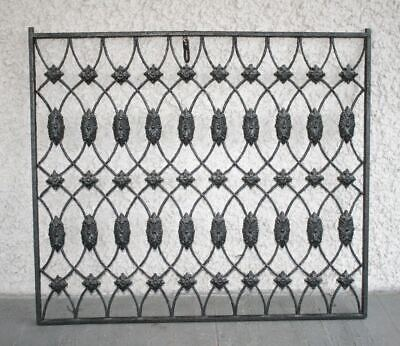 Large Antique Ornate French Cast Iron Grille. Decorative Painted Grate Fence