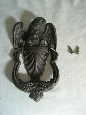 Vintage American Eagle Metal Door Knocker Black Cast Iron