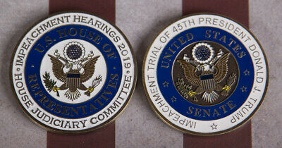 Rare Presidential Impeachment Challenge Coin Set Of 2 Numbered Potus Trump