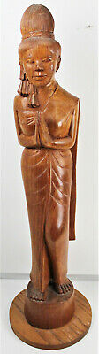 Vintage Hand Carved Asian/Indian Woman Praying Solid Wood Statue