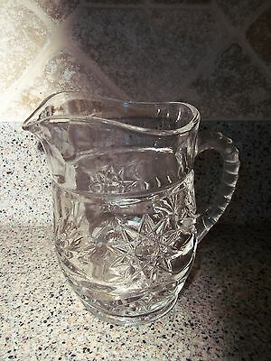 Vintage Small Cut Glass Pitcher Creamer with Floral Starburst Design and Bottom