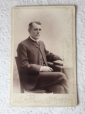 Antique Cabinet Photo - Portrait Of Reverend - Law & Baum Studio Little Falls Ny