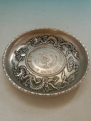 Collectible Decorated Old Handwork Miao Silver Carved Dragon Phoenix Plate