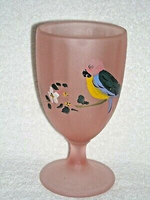 Vintage Pink Satin Hand Painted Frosted Ribbed Depression Glass Goblet