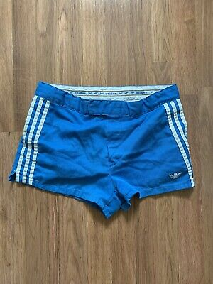 VTG Adidas Blue Trefoil Tennis Shorts Talon Zipper Poly / Cotton Size 34 70s