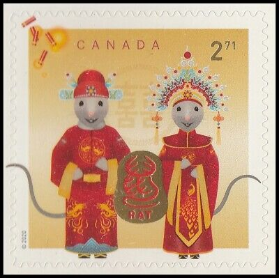 Canada Lunar New Year Rat $2.71 single (1 stamp from booklet) MNH 2020