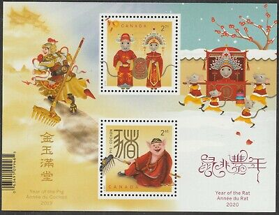 Canada Lunar New Year Rat Pig souvenir sheet MNH 2020