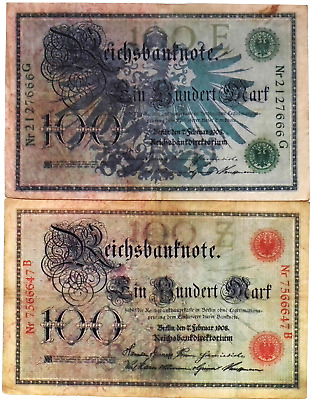 1908 Germany Kaiser WW1 Set of 2 100 Gold Mark Banknotes RED + GREEN