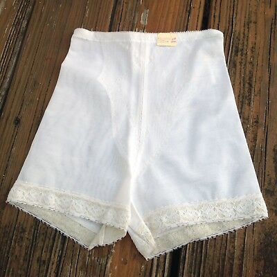 Vintage White Nylon Granny Panties S Sissy Briefs Undies Girdle Shaper Panty