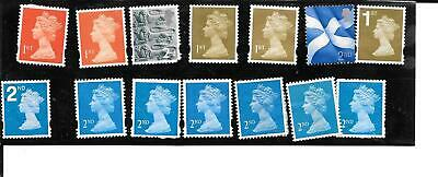 14 ENGLISH POSTAGE STAMPS - 1st & 2nd CLASS - FOREVER STAMPS - UNFRANKED