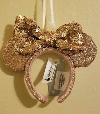 Disney Parks Briar Rose Gold Minnie Mouse Ears Headband ORNAMENT 2019 - NEW
