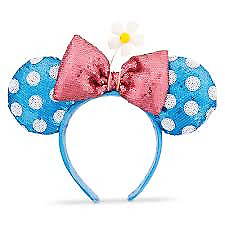 DISNEY PARKS  Sequined Minnie Mouse Ear Headband - Blue  Polka Dot and Daisy NWT