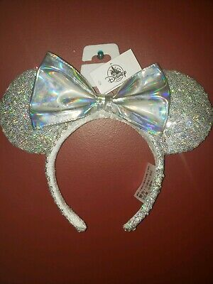 Disney Parks Minnie Mouse Silver Glitter Ears Sequin Bow Iridescent Headband NWT