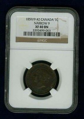 "Canada Victoria 1859/9 Large Cent Certified Ngc Xf40-Bn, Narrow ""9""  #2"