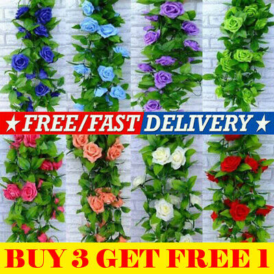 2x 8ft Artificial Rose Garland Silk Flower String Vine Ivy Party Garden Decor RD