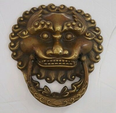 Vintage Solid Brass Foo Dog Door Knocker 6""