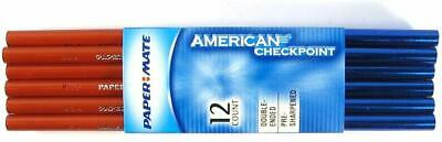 Papermate Wood Pencils American Checkpoint Red/ Blue 29603 Usa Made 12 Pencils