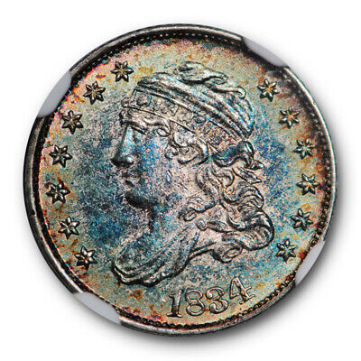 1834 Capped Bust Half Dime H10C NGC MS 64 Uncirculated Toned Beauty Colorful