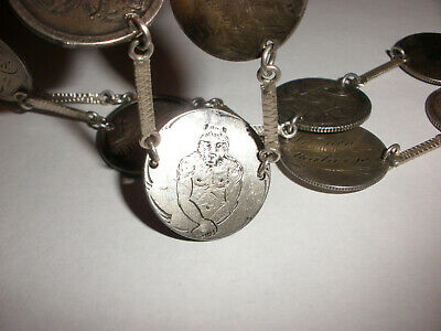 Rare 19thc antique Victorian with 10 Germany silver coins love tokens necklace