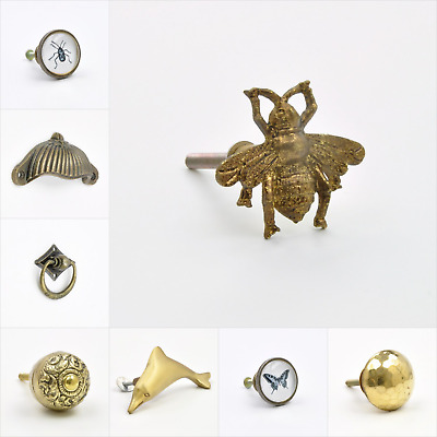 Vintage Aged Antique Brass Knob, Pull, Handle, for Cupboards, Doors, Cabinets, D