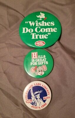 Vintage Hard To Find Hills Department Store Button Pins Defunct