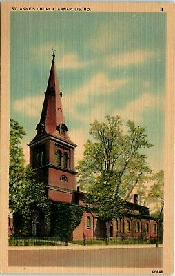 Postcard Maryland Annapolis St. Anne's Church Steeple Linen Unposted