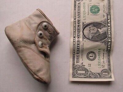 Nice Tiny Single Antique Victorian Child's Leather Shoe, Baby, Toddler Doll 1870