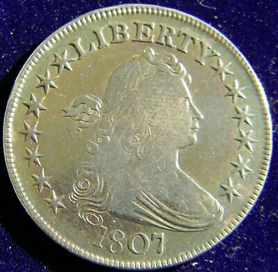 1807 Draped Bust Half Dollar, Very Fine Condition, Cleaned