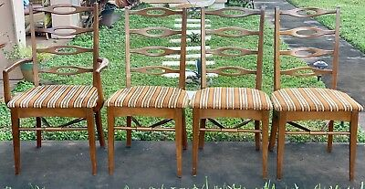 Rare 4 Juhl Style Danish Wood Mid Century Dining Chairs MCM Needle Back Mission