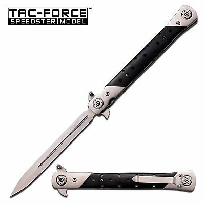 Tac Force Spring Assisted Knife 7 Inches Closed with Black Wood Handle