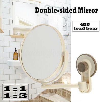 Suction Cup Wall Mounted Adjustable Make Up Shaving Round Bathroom Mirror Shower