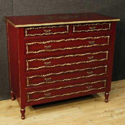 Lacquered dresser furniture gold wood antique style commode chest of drawers