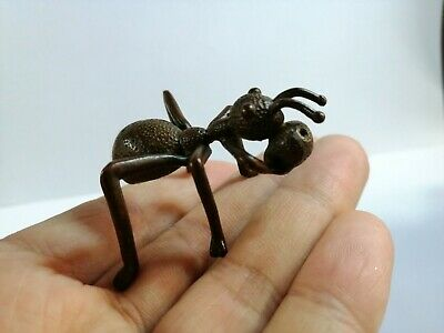 Old Antique Chinese Vintage Red Copper Ant Figurine Art Sculpture