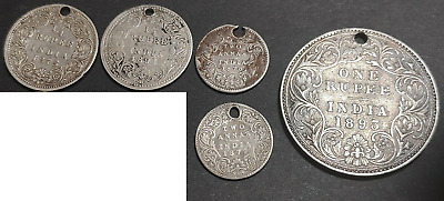 British East India 7 Holed Coins 1 Rupee 1/4 Rupee 2 Annas Silver